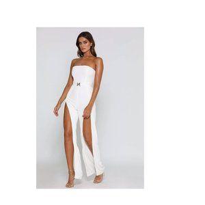 Meshki Livia Strapless Jumpsuit White Sz S NWT